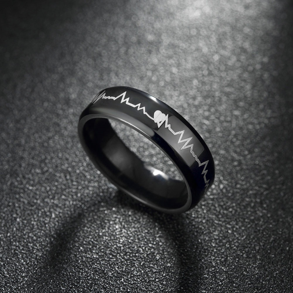 Glow In The Dark Heart Rate Stainless Steel Couple Finger Ring