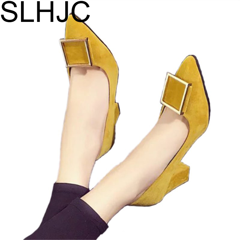 SLHJC Women Pumps Spring Autumn All Match OL Square Heel Fashion Pointed Toe Buckle High Heel Wedding Party Shoes 8 CM Heel slhjc high heel shoes women all match party wedding office pump sexy thin heel pointed toe leather pumps slip on 10 cm 7 cm 4 cm