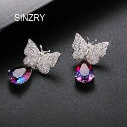 Sinzry quente zircônia cúbica cristal sweety waterdrop borboleta elegante brincos femininos na moda jóia