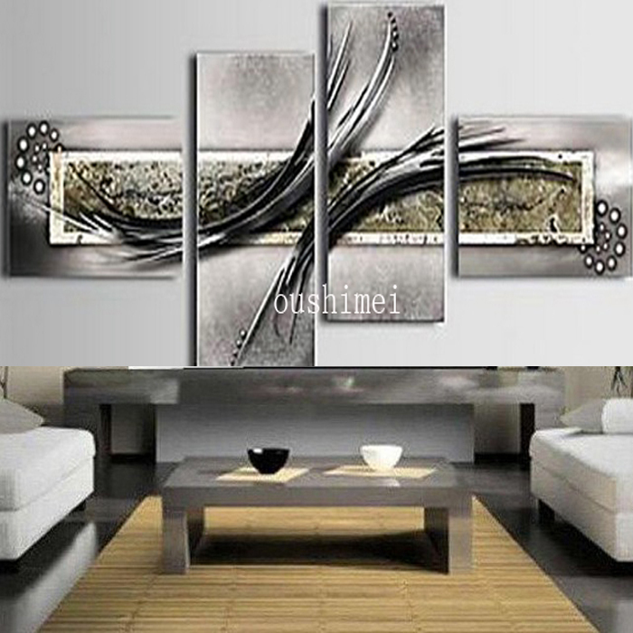 4pcsset pure hand painted grey and black series canvas oil painting no frame home