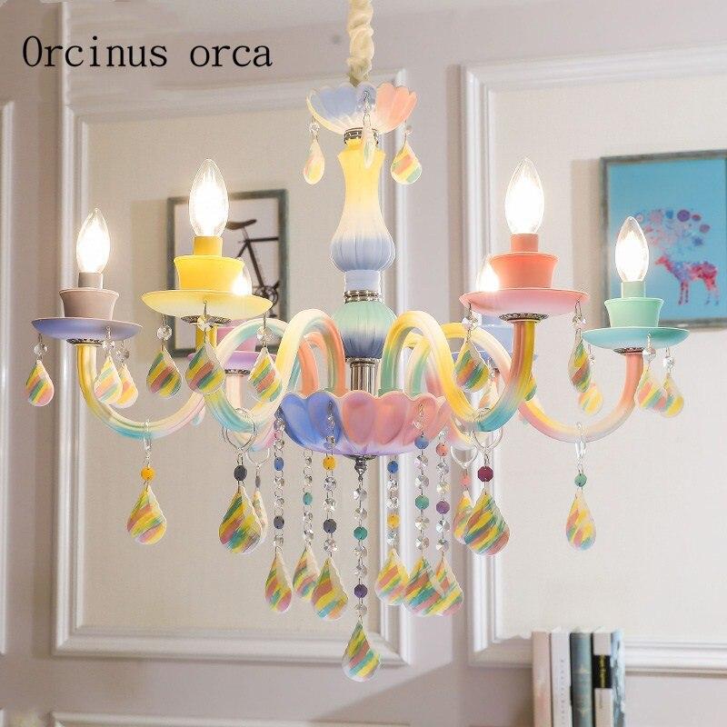 European creative Rainbow Crystal Chandelier Princess bedroom girl bedroom children's room lamp American dream candle chandelier|Pendant Lights| |  - title=