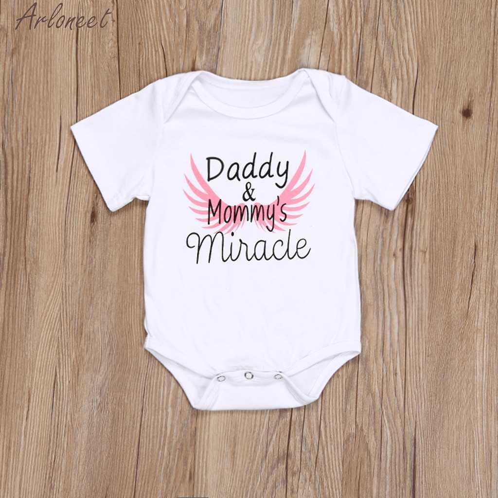 Arloneet Pasgeboren Kids Baby Meisjes Jongens Kleding Vaderdag Brief Print Kostuums Bodysuit Meisje Kleding 2019 Hot 19Apr23 P35