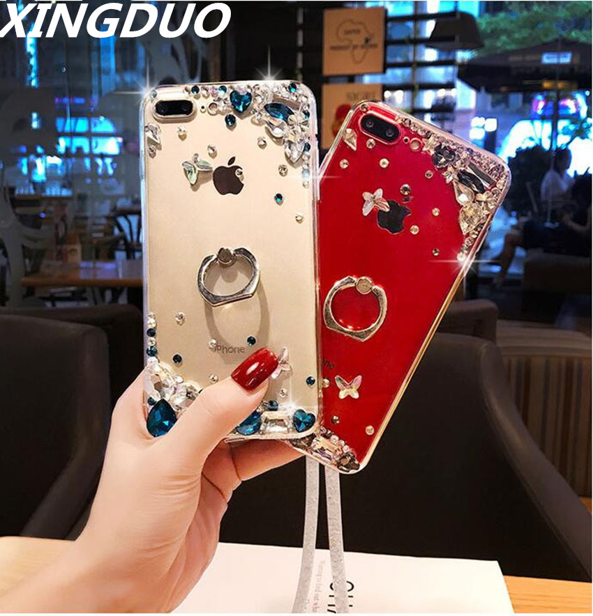 XINGDUO Glitter Transparent Jewelled case for Samsung M10 M20 Note 8 9 Ring buckle Kickstand Crystal shell S10 S8 S9 S7 S6