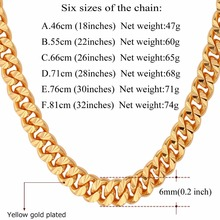 Curb Chain Necklace Hollow Miami Cuban Link Chain For Men Gift 6mm Long/Choker Wholesale Gold Color Hip Hop Jewelry N383