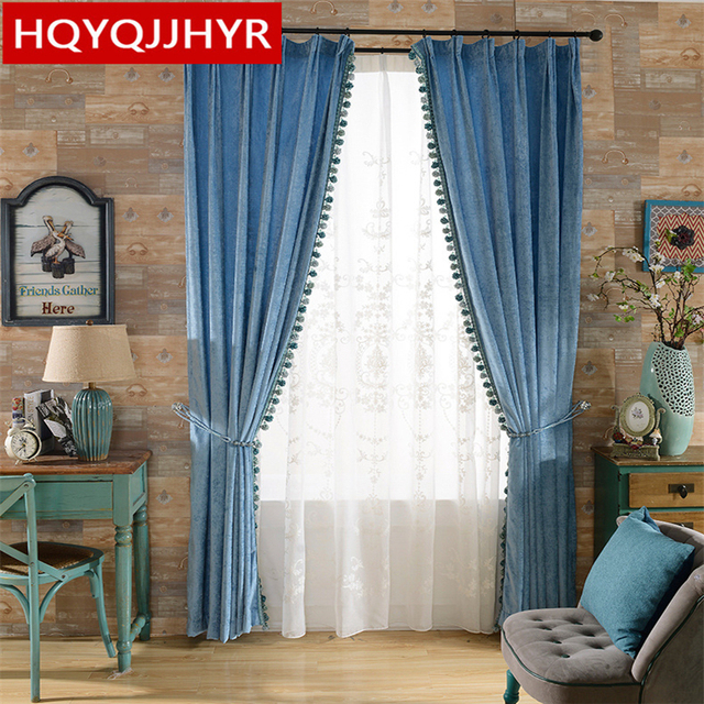 Custom Finished Luxury Double Sided Chenille Blackout Curtain Fabric For Living Room Modern Simple Solid