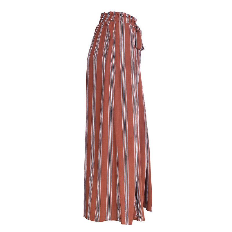 Simplee High split stripe wide leg pants women Summer beach high waist trousers Chic streetwear sash casual pants capris female 16