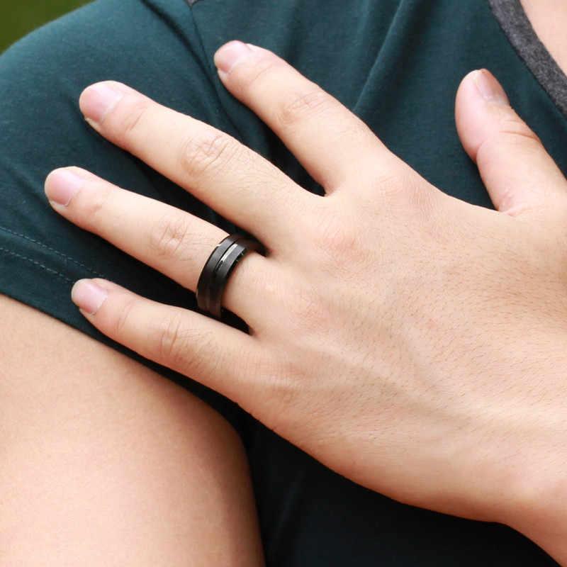 2018 חדש שחור גברים טבעת 100% טיטניום קרביד גברים של תכשיטי חתונה להקות החבר קלאסי מתנה