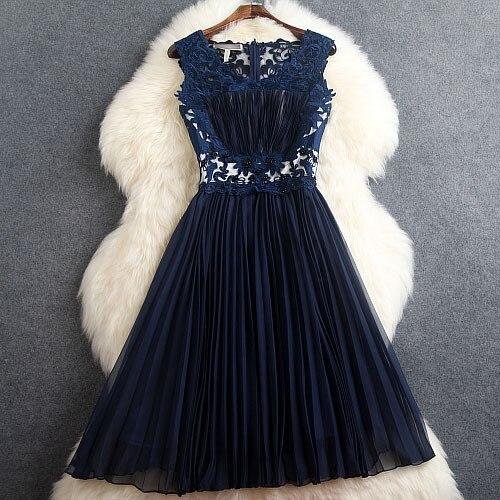 Весна Лето дизайнерские женские платья красные темно синие с вышитыми бисером цветами плиссированные модные брендовые до колен платья для мероприятий - Цвет: Синий