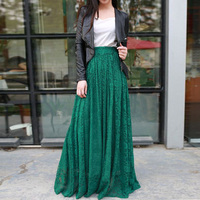 2018 Vintage Long Lace Skirts A Line Chic Floor Length Fashion Women Skirts Custom Made Exquisite Party Skirts