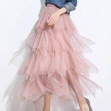 HEE GRAND Skirts Womens Fashion 2019 Spring Cupcake Skirt Slim Fairy Dress High Waist Stitching Irregular Elegant  WQC571