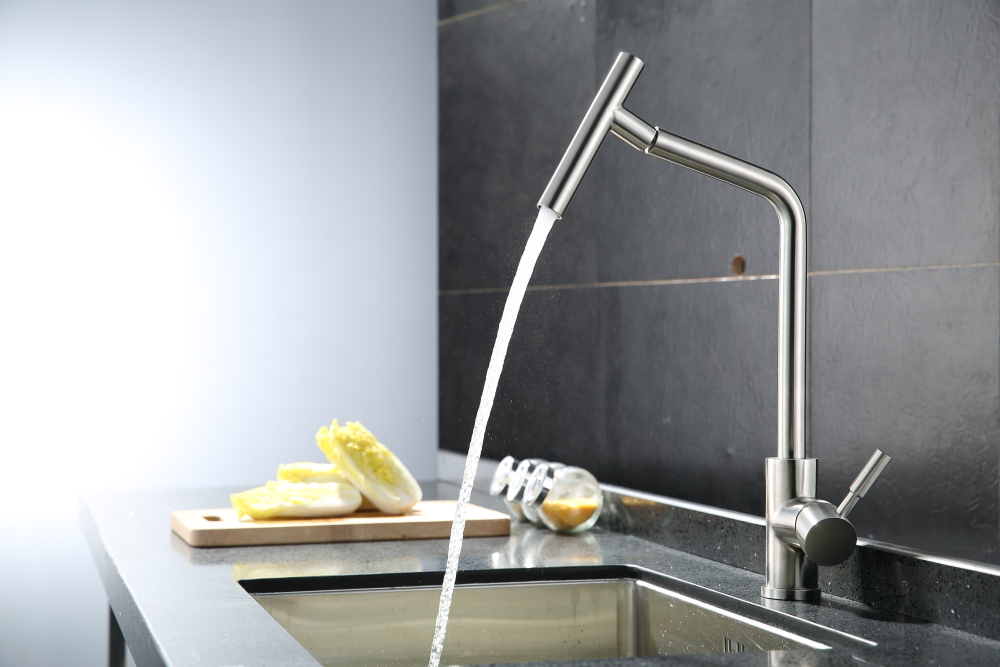 Brushed nickel kitchen faucet modern kitchen mixer tap 304 stainless steel 360 degree rotation No lead