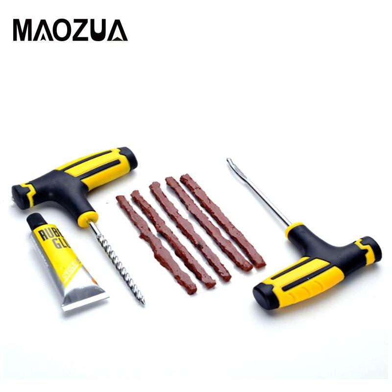 2020 Black/ Yellow Car Tire Repair Tool Auto Car Bike Tubeless Tire Tyre Puncture Tire Repair Kit Plug Garage  Car Accessories