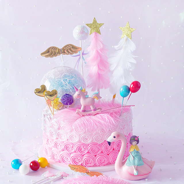 Pink White Feather Christmas Tree Cake Topper Unicorn Cake
