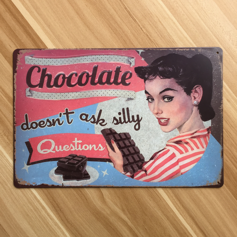 Metal Tin Sign Chocolate Food Wall Art Painting Vintage Kitchen Poster Retro Home Bar Cafe Iron