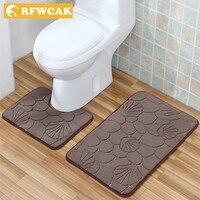 RFWCAK 2Pcs/Set Bathroom Carpet Mat Set Embossing Flannel Floor Rugs Cushion WC Toilet Seat Cover Bath Mat for Home Decoration
