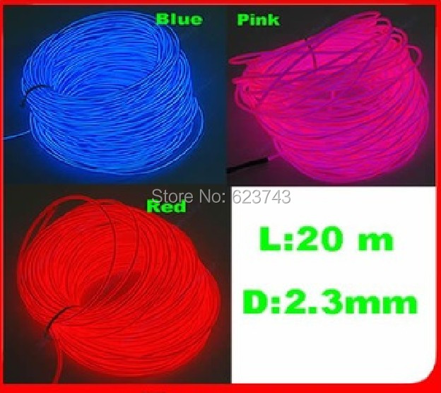 20M EL Wire Lemon/Red/Yellow/Green/White/Blue/Purple/Pink Flexible Neon Light Glowing Rope Tube With Controller Free Shipping