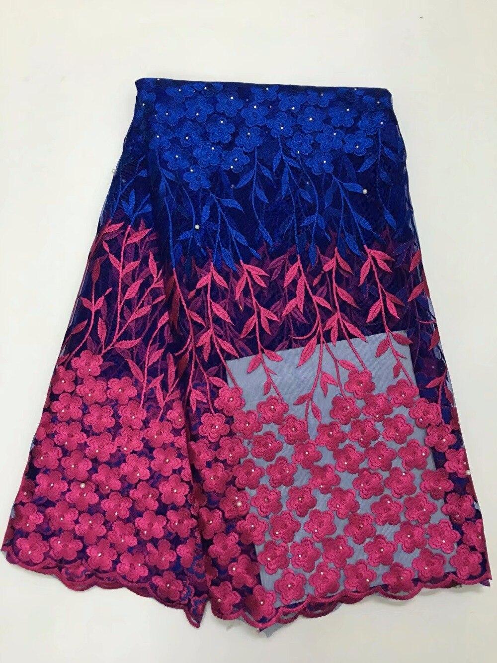 Královská modrá tkanina vysoce kvalitní francouzská síťovaná krajka s kameny 5 yardů pro svatební šaty Africká tylová krajka žlutá tkanina