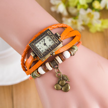 2016 New Casual Square Vintage Genuine Leather Fruit Pandent Women' Ladies' Female' Watch Wristwatches Girls Black Brown OP001
