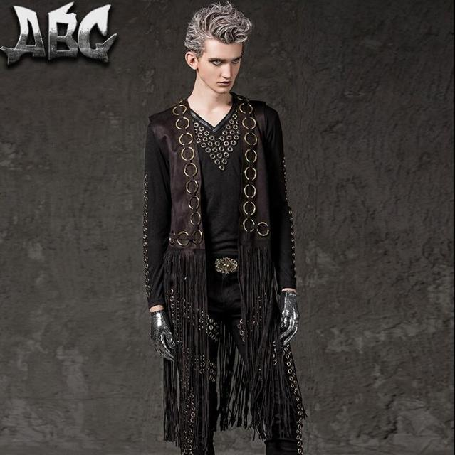 2017 summer style male long tassel vest men punk costumes hombre chalecos sin mangas singer dance stage star style black novelty