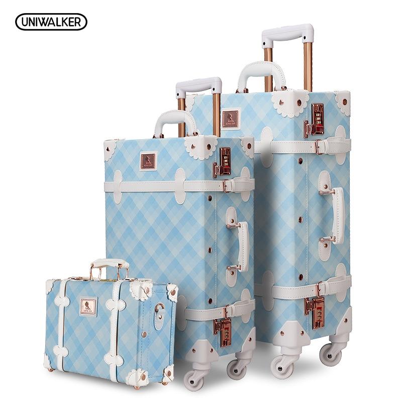 3 PZ/SET Spinner Bagaglio Set Vintage Print valigia di Cuoio DELL'UNITÀ di elaborazione resistente all'acqua In Posizione Verticale Trolley Da Viaggio scatola di Rotolamento della ruota