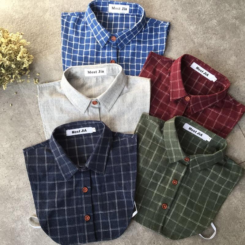 Plaid Fake Collar Shirt Men 2019 Removable False Collar Shirt Fake Collar For Women Men KId Size S To XXL Detachable Nep Kraagie