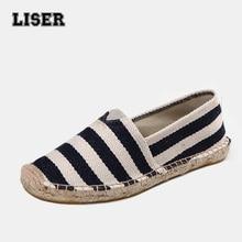 hot sale unisex Espadrilles canvas hemp flat casual shoes for women plus size sailing beach holiday striped preppy boat shoes