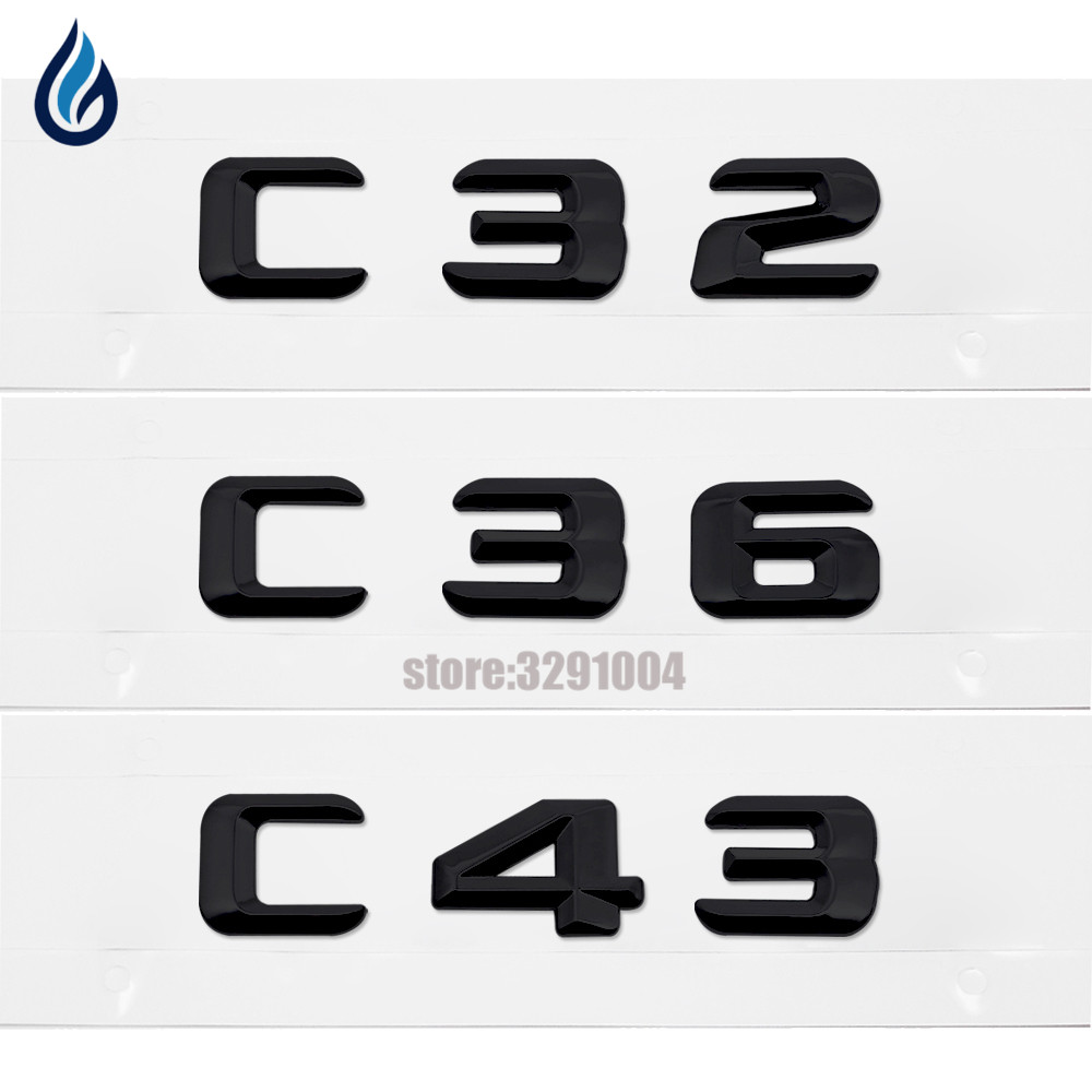 Car Styling For Mercedes Benz AMG W201 W202 W203 W204 C-Class C32 C36 C43 Trunk Rear Lid Emblem Badge Alphabet Letter Decal amg style w205 carbon fiber rear trunk spoiler for mercedes benz w205 c180 c200 c220 c250 c300 c350 c400 c63 amg 2015 2017