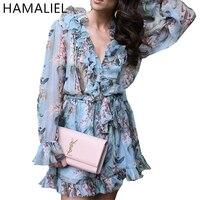 Runway Summer Women Rompers 2017 Fashion Blue Print Floral Long Sleeve Chiffon Fungus V Neck Female