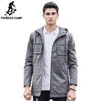 Пионерский лагерь Новинка 2017 года мужской тренч брендовая качественная одежда длинная черная серая куртка 611312