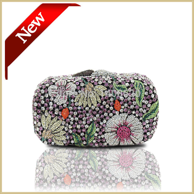 100% Handmade Rhinestone Crystal Evening Clutch Bags Women Beautiful Party Bags Purse with Chain Flower Small Handbag Multicolor