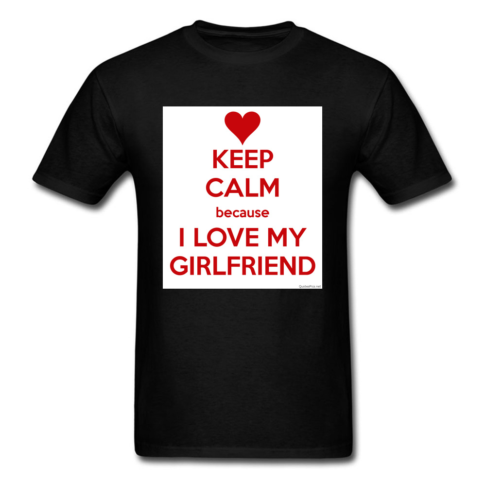 Free Shipping 100% Organic Cotton Clothes Shirt For Men I Love My Girl Friend 2018 Valentines Day T Shirt Bets Gift O Neck