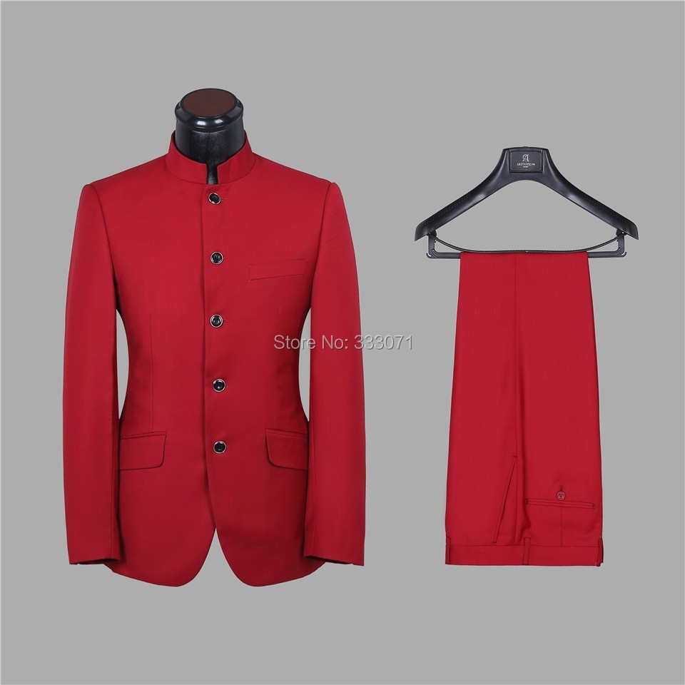 Custom Made Groom Tuxedos Stand Collar Red Coffee Men's Wedding Party Suits Groomsman Morning Dress Blazers Jacket +Pants