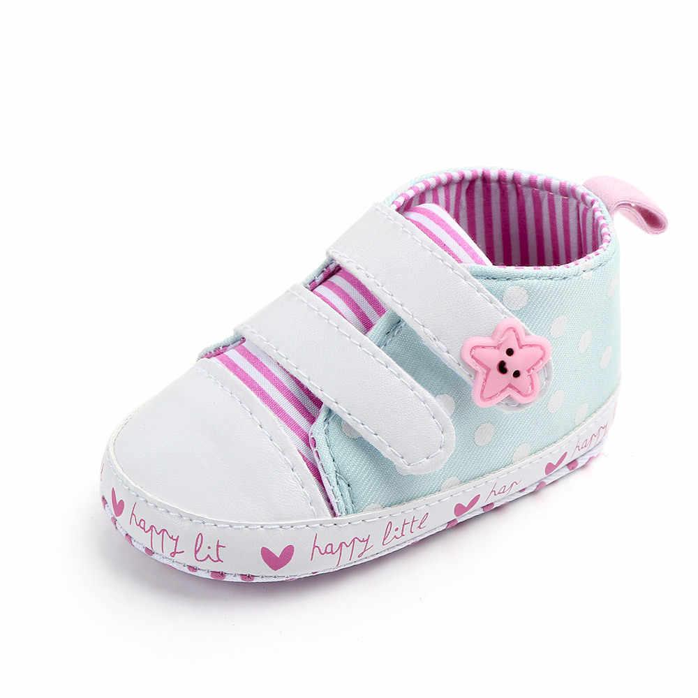 Noworodka dziewczynka buty Hook & Loop Sneakers miękkie podeszwa buty w stylu casual dla chłopca do chodzenia buty niemowlęce maluch obuwie 1 rok stare sukienka