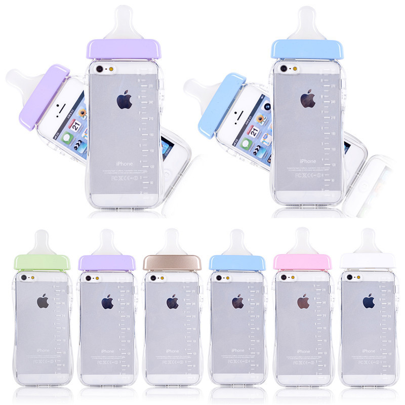 outlet store ccb0a af422 US $3.99  Baby Bottle Phone Cases for iPhone 5S, Cute 3D Milk Bottle Soft  TPU Transparent Clear Cover Capa Para Funda for iPhone 5 on Aliexpress.com    ...