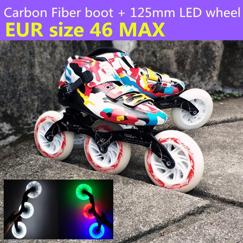 3X125mm LED Flash lueur roue Camouflage Fiber de carbone patins de vitesse en ligne chaussures vert bleu rouge blanc lumière 125mm rouleau Patin