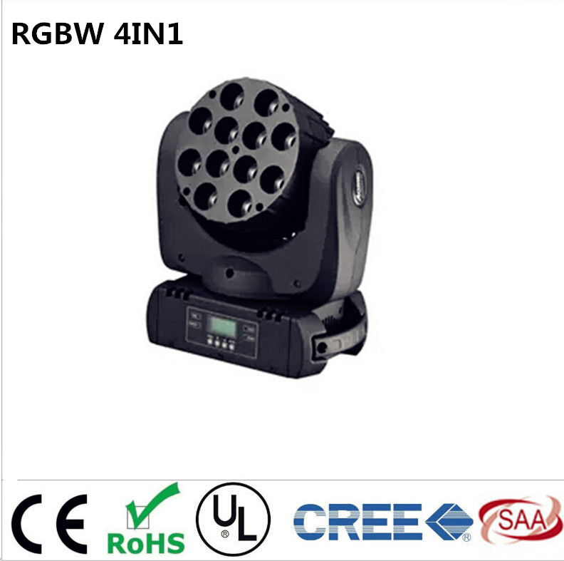 LED moving head 12x12w rgbw 4in1 color with advanced 9/16 dmx channels for dj disco parties show lights