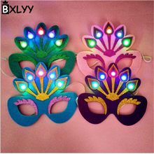 BXLYY Hot Sale 2018 1pc Peacock Glowing Mask Party Ball Halloween Christmas Decoration Accessories Unicorn Party.7z