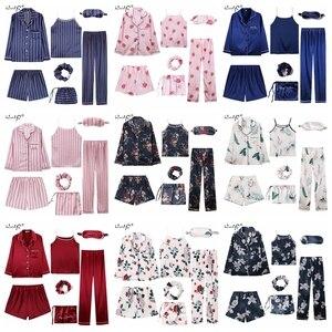 Image 5 - 2019 Vrouwen 7 Stuks Pyjama Sets Streep Afdrukken Satijn Zijden Pyjama vrouwen Nachtkleding Mooie Thuis Kleding Lange En Korte pijama