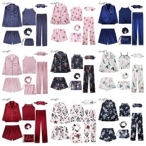 Image 5 - 2019 Women 7 Pieces Pajamas Sets Stripe Printing Satin Silk Pajamas Womens Sleepwear Lovely Home Clothing Long And Short Pijama