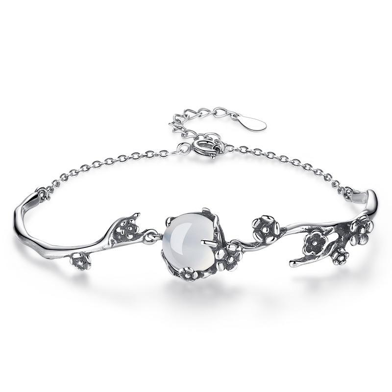 100 925 sterling silver fashion retro style Plum blossom flower opal stone ladies bracelets jewelry female bracelet gift cheap in Charm Bracelets from Jewelry Accessories