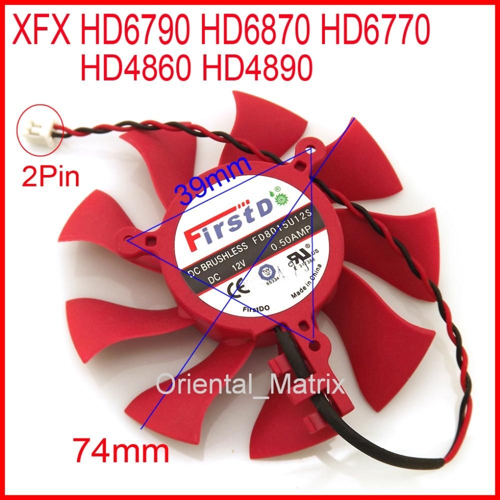 Freies Verschiffen Firstd FD8015U12S DC12V 0.50A 2Pin 74mm Für XFX HD6790 HD6870...