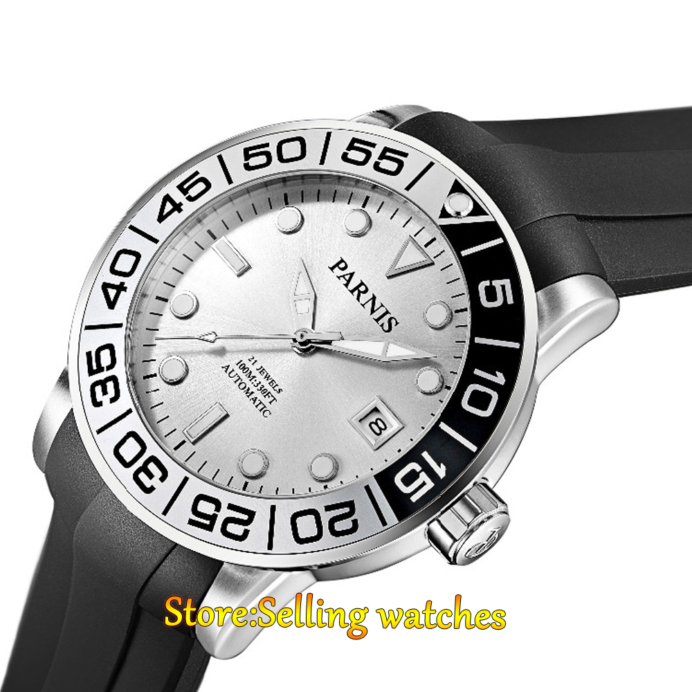 42mm Parnis silver dial Sapphire glass 21 jewel Miyota automatic mens watch цена и фото