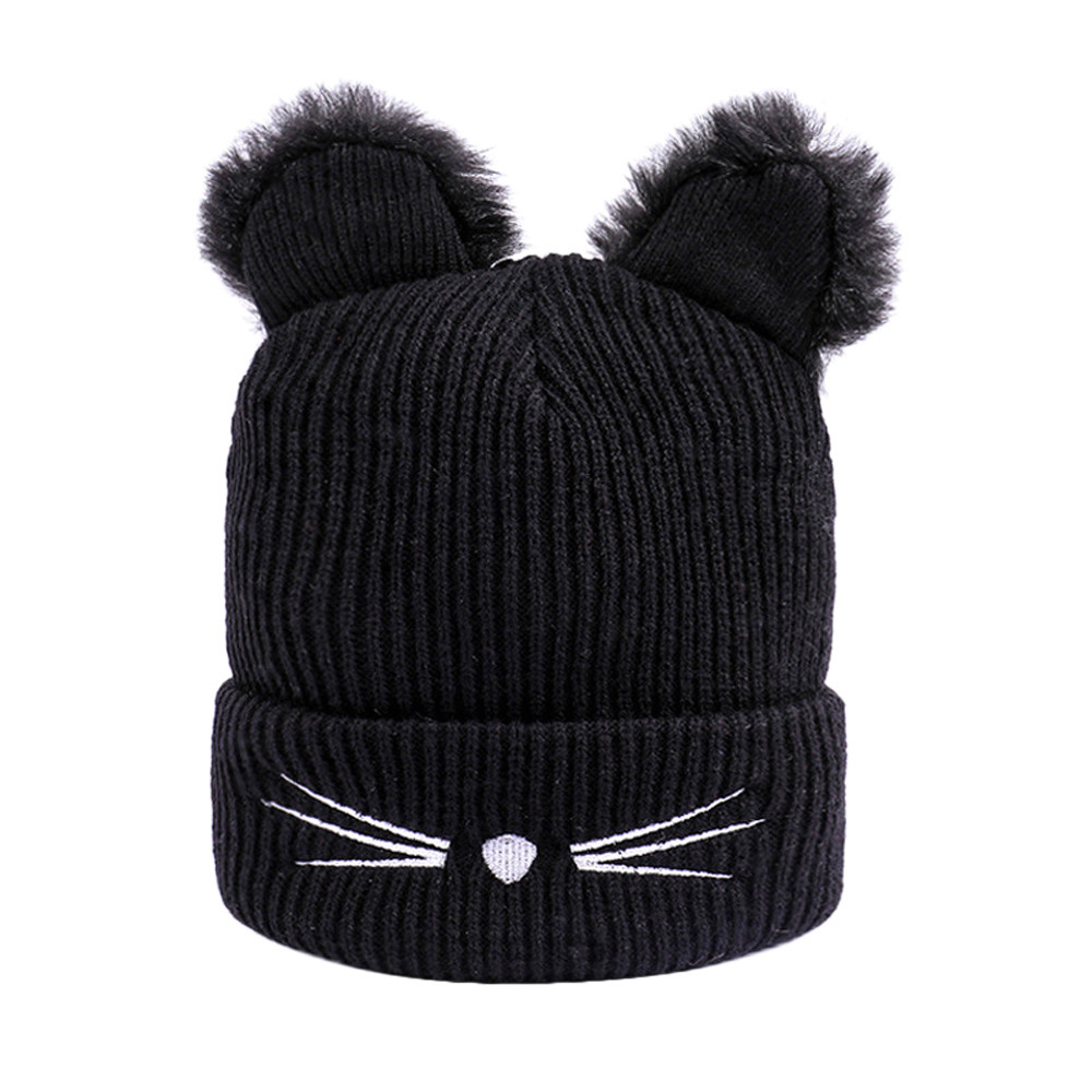 Beanie Hat Women Winter Fashion Knitted Wool Cat Ear for Casquette Hemming Keep-Warm