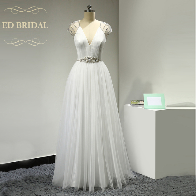 Y Backless Rhinestone Beach Wedding Dress A Line Tulle Short Sleeves Plunging V Neck Bridal