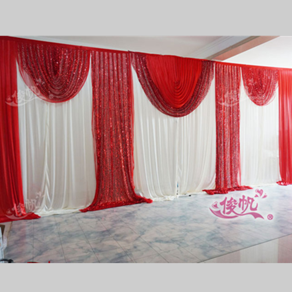 Cheap red curtains - Luxury Sequins Wedding Backdrop Curtai Swag 3m 6m 10ft 20ft Red Ice Silk Stage Background Curtain Wedding Decorations Free Dhl