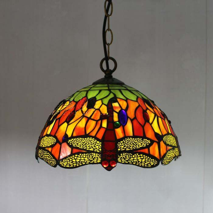 Tiffany Glass Pendant Lamp European Pastoral Style Red