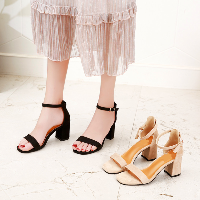 Beige Black Gladiator Sandals Summer Office High Heels Shoes Woman Buckle Strap Pumps Casual Women Shoes Plus Size 34-40 n686 1