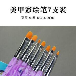 7pcs/lot Nail Art Kolinsky Sable Brush Pens UV Gel Polish Painting Drawing Brush Set Kit Manicure Tools