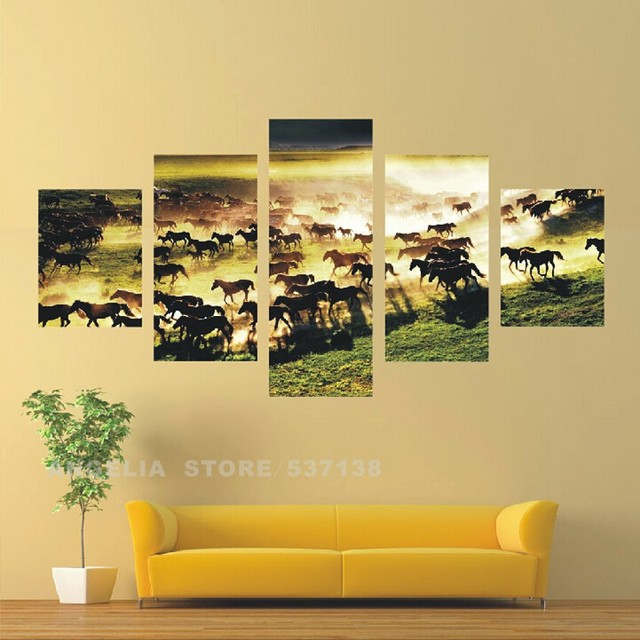 Home Decorative Landscape Wall Painting 5 Thousands of Horses Are ...