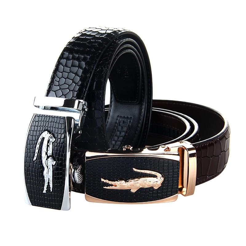 Newest Men's Genuine Leather Belt Crocodile Grain Leather High Brand Luxury Men Belts Large Size 140cm Male Belt Free Shipping